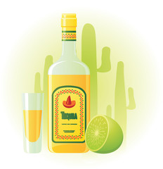 Tequila bottle with cup and lime