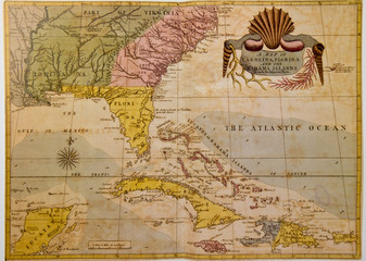 Vintage map of USA southeast and Caribcean