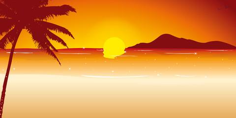 Illustration plage couché de soleil