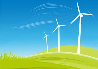 Windkraftanlagen vor Himmel