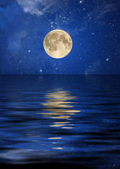Reflection of the moon and stars