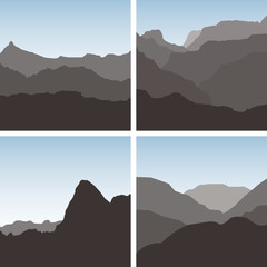 4 vector mountain landscape scene