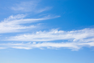 beautiful blue sky with fine white clouds