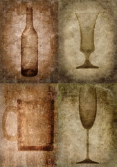 Grunge illustration with bottle and glasses, vintage stylized