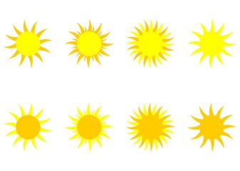 soleils sur fond blanc