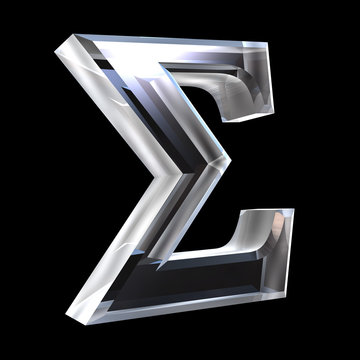 Sigma symbol in glass (3d)