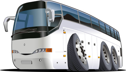 Vector cartoon tourist bus
