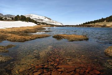 Alpine Pond and snow top