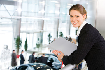Woman in car center