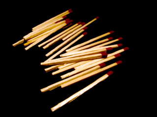 Matches on black background