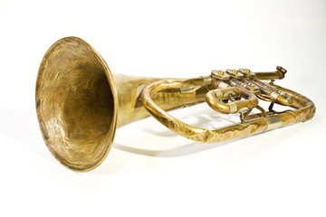 old trumpet with missing parts