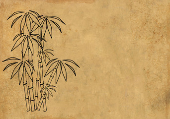 Sheet rice paper with figure of bamboo