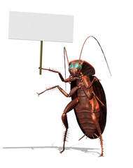 Giant Roach with a Blank Sign