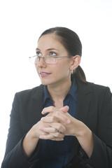 female executive thinks