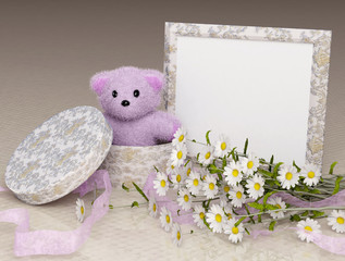 teddy bear pink with a photo frame and flowers
