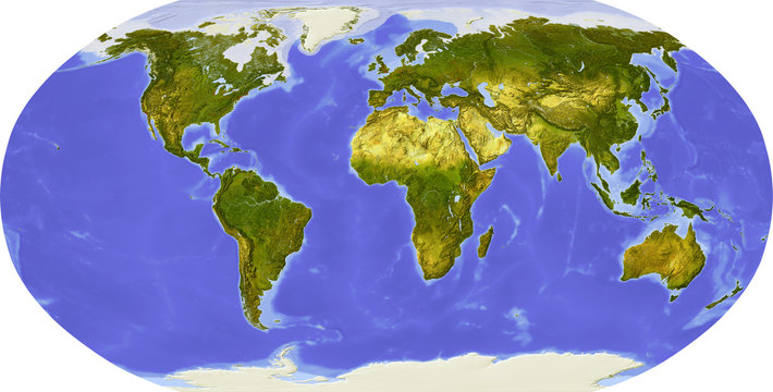 Globe, shaded relief, centered on Africa