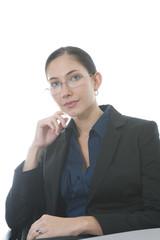 woman sitting in office