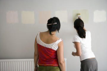 Two women decorating at home, testing different paint colours on wall, rear view