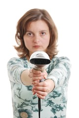 Woman shooting with hairdryer