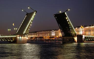 View of the open Palace Bridge. Saint-Petersburg, Russia