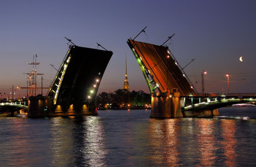 View of the Peter and Paul Fortress and open Stock Bridge.