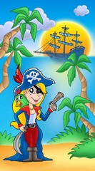 Photo sur Toile Pirates Pirate woman with parrot and boat