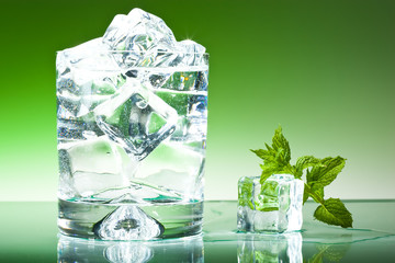 Glass of water with a sprig of mint