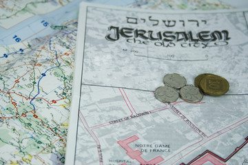 jerusalem map and coins