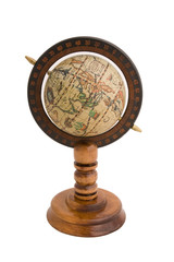 Old style world globe on white background