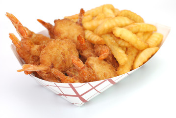 Fried Shrimp and French Fries