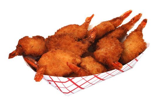 Fried shrimp basket isolated on white background.