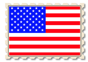 Post stamp with USA national flag