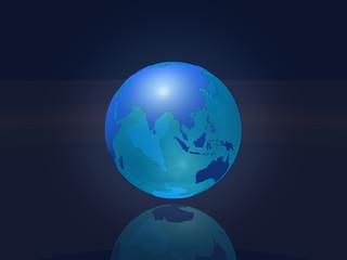 Transparent earth globe - Asia