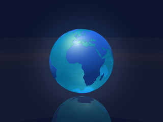 Transparent earth globe - Africa & Europe