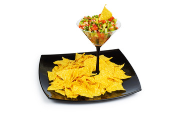 Mexican traditional food - corn chips and salsa