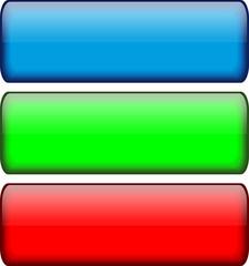 Glassy Rectangular Buttons (red, green & blue)
