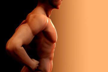Nude man torso. Photo-real 3D render.