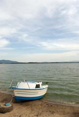Small motor boat moored