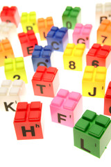 Colorful learning blocks over white