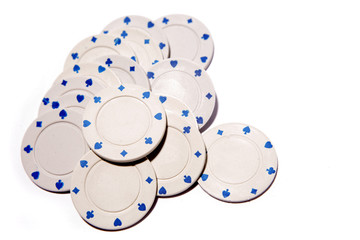 Poker chips on white