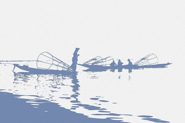 styled image of fishermen on water