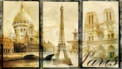 Fotomurales - old Paris - vintage collage