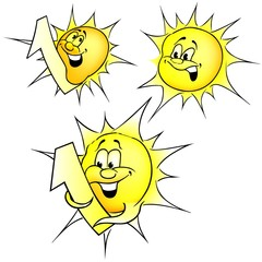 Sun set - colored smiling cartoon illustration