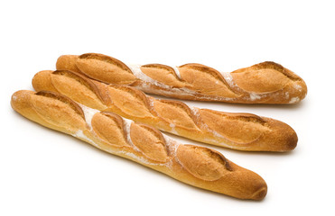 three baguette on white background