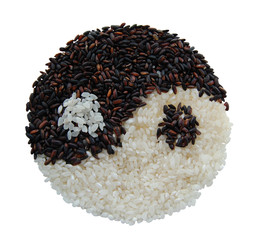 wild and whit rice a forming yin yang symbol