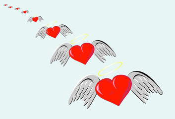 Heart of love with wings