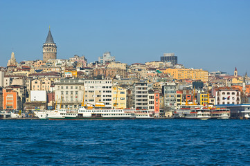 View of the bosporus and Galata, Istanbul Turkey