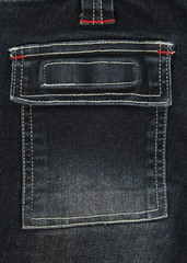 Black denim pocket