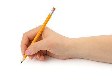 Pencil in woman hand