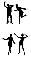 dancing people vector silhouette